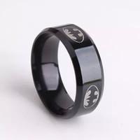 batman symbols - New Arrival Boys Men Black Batman Symbol Stainless Steel Rings For Men Women Party Batman Rings