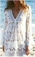 Wholesale fashion swimwear sexy crochet white lace beach dress women summer bikini cover up beachwear YY81