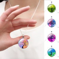 glass pendant - Harajuku Style Illusion Tree of Life Glass Cabochon Pattern Pendant Necklace with Silver Plated Necklace Chain for Women
