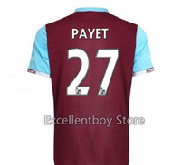 Wholesale 16 PAYET West Ham Soccer jersey West Ham Jersey Football Shirt United Home Red NOBLE PAYET CARROLL COLLINS Football Jersey