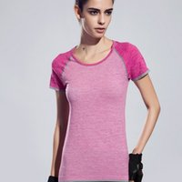 Wholesale Quick Drying Gym T shirt Compression Tight Womens Sport TShirt Running Short Sleeve T shirt Women Fitness Tennis t shirts amp