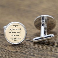 Wholesale 10pairs Bible cufflinks my beloved is mine and i am his print Photo Christian cufflinks