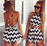 Wholesale Women Striped Playsuit Summer Style Shorts Backless Sexy Jumpsuit Crop Top and skirt set macacao feminino vestido Romper Overall