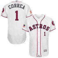 achat en gros de mode houston-Fashion Stars Stripes Flex Base Houston Astros # 1 Maillots de Baseball CARLOS CORREA Pas cher, Taille: 40/44/48/52/56