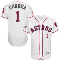al por mayor la moda houston-Las estrellas de la manera rayan la base de la base Houston Astros # 1 Jerseys de béisbol de CARLOS CORREA baratos, tamaño: 40/44/48/52/56