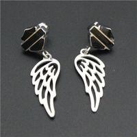 Wholesale Cool biker jewelry hot sellings polishing silver black biker earrings with wings dangle chandelier biker events