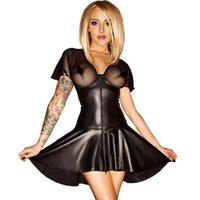 Wholesale M XL Sexy Mesh Vinyl Club Dress New Summer Women Nightclub Leather Petticoat Lack Kleid Black Short Transparent Robe Zipper Front W850713