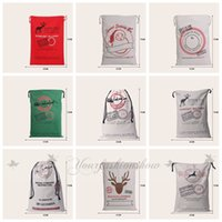 Wholesale Fedex DHL Free style Large Canvas Monogrammable Santa Claus Drawstring Bag With Reindeers Monogramable Christmas Gifts Sack Bags Z73