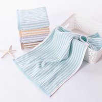 Wholesale Manufacturers selling multicolor cotton to cotton satin towel thickening stripe face towel g cm cm