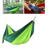 Wholesale 2016 Hot Sale Double Outdoor Picnic Hammock Swing Bed Portable Parachute Nylon Fabric Blackish Green