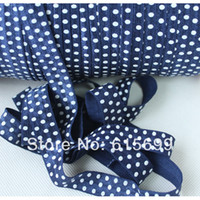 apparel offers - Apparel Sewing Fabric Ribbons White Dots Printed Fold Over Elastic Ribbon quot FOE Ribbon100Y Navy offer custom print FOE