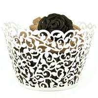 Wholesale White Laser Cut Cupcake Wrappers Cake Cup Wraps Wedding Birthday Hoilday Party Supplies Home Decoration Tools JJ531