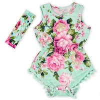 Wholesale Newborn Girls Summer Flower Jumpers Sets Baby Girl Onesies Toddler Girl Jumpsuits Outfits Clothing With Bow Headbands