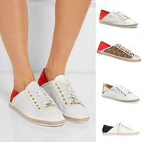 Wholesale Fashion Brand Women s Michael Sneakers Fashion New Spell Color With Metal Straw Rope Casual Flat Heel Lace Up Canvas Shoes