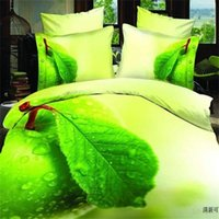 apple green comforter - Apple Green D Leaf print Bedding Sets Cotton Fabric Duvet Cover Pillowcase Bed Sheets Bedroom Set for Queen Size Bed