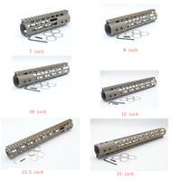 ar steel - Tan FDE Length Free Float Rail Mount Keymod Handguard with Steel Barrel Nut Fit AR