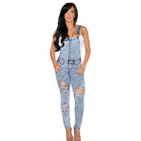 Wholesale Bodysuit Macacao Feminino Longo Stone Wash Denim Destroyed Fitted Overall Casual Summer Jeans Jumpsuit Women