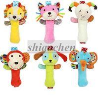 Wholesale SKK Baby Hand Bell Toys Newborn Animal Hand Grasp Toys BB Finger Stick Infant Plush Toys Kids Hand Grasp Stick Learn Education Toys B279