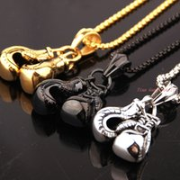 Wholesale Sporty Couple Necklace Cool Cute Mini Boxing Glove Pendant Necklace Unisex Friend Lover Novelty Gift L Stainless Steel