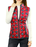 Wholesale Women s Outerwear Coats Stand Collar Zippered Plaids Quilted Padded Vest Red Chuvivi Unique Fashion Apparel