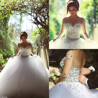 Wholesale Simple Long Train Wedding Dresses - 2016 Long Sleeve Wedding Dresses with Rhinestones Crystals Backless Ball Gown Wedding Dress Vintage Bridal Gowns Spring Quinceanera Dresses