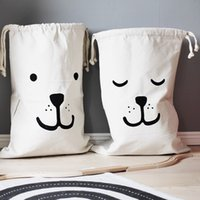bear bag hanging - Ins Bag Large Baby Toys Storage Canvas Bags Bear Batman Laundry Hanging Drawstring Bag Cute Household Canvas Pouch