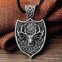 amulets talisman - New Punk Legendary Viking Aegishjalmur Amulet Pendant Necklace Large Double Deer Sekira Viking Nordic Talisman Pendant Necklace