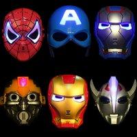 al por mayor vendedores-Puntales de Halloween de la historieta de la máscara de la máscara niños máscara de plástico máscara del partido Vengadores de caracteres Ironman Spiderman Batman Capitán América Hulk dibujos animados