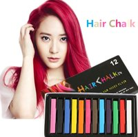 Wholesale 12 Colors Chalk Pen Soft Pastels Salon Kit Fast Temporary Waxy Short Hair Dye Color Chalk and Pens Fashionable Non toxic y