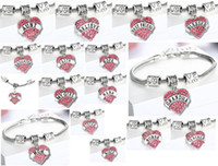 Wholesale 5PCS styles Pink Crystal Heart Pendant Charm Engraved Daughter Blessed Nurse Teacher Believe Etc Bracelet Bangle AS Holiday Gift