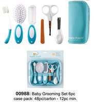 baby brush and comb - Newborn Baby Care Suit Comb and Brush Scissors Healthcare Kit Nursing Baby Grooming Care Manicure Set YY0163