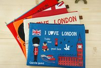 Wholesale 4 Colors Cute I Love London Oxford Cloth A4 Files Bag Filing Bags Cartoon Can Scrub Document Bag Pouch cm