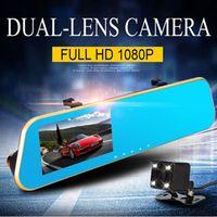 Wholesale Full HD P Car DVR Novatek Car Camera Dvr Blue Rearview Mirror Digital Video Recorder Auto Navigator Degree Wide Angle