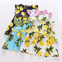 baby lemons - 2016 Baby Print Lemon Pineapple Fly sleeve Dresses Kids Girl Summer floral Dress girls Fashion cotton fruit Dress with belt MC0019