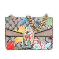 Cheap Factory Custom 2016 Fashion Women Handbags Leather Chains Multicolour Flowers Printing Flap Bag Handbag Lady Shoulder Crossbody Messenger