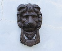 Wholesale 2 Pieces Rustic Cast Iron Lion Doorknocker Door Knocker Lionhead Doorknockers Lions Home Decor