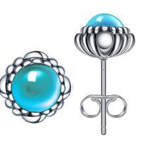 amethyst birthstone jewelry - 925 Sterling Silver Blue Turquoise December Birthstone Bloom Stud Earrings For Women Wedding Birthday Fashion Earring Jewelry