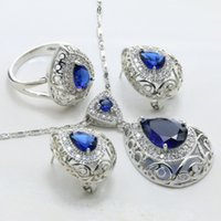 Wholesale Silver Plated Zinc Alloy Tray Artificial Cubic Zirconia Blue Main Stone Drop Shape Pop Women Wedding Jewelry Set S185C