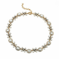 Wholesale Crystal Xoxo Necklace Teardrop Floret Choker Necklaces Petal Charms Vintage Gold Plated Hot Popular for Lady