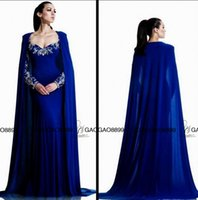 beaded clock - Royal Blue Arab Style Mermaid Evening Dress with Clock Applique Beads Dubai Abaya Formal Long sleeved Muslim Prom dress with Cape