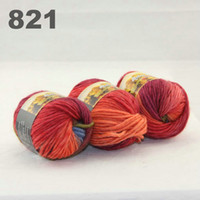 Wholesale colorful hand knitted wool line segment dyed coarse lines fancy knitting hats scarves thick line Army Green Blue Burgundy Orange