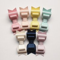 baby hair grips - NEW Levels Hair Bows New Prince Baby Girls Hair Clips with Faux Glitter Litchi Stria Leather Hair Grip Stripe Pink Hairpins