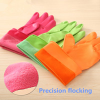 Wholesale L Size Synthetic Rubber with Flocking Winter Keep Warm Work Gloves Household Tools Waterproof Clean Glove