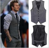 Wholesale 2016 Men s fashion business suit vests Male leisure suit vests David Beckham The same style Leisure suit vest