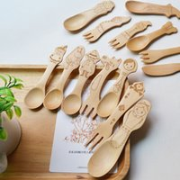 baby formula wholesale - Classic animated image Wooden spoon fork set Cute Cartoon Baby wooden spoon Infant formula spoon fork D10