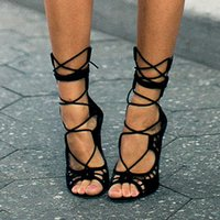 sexy high heels - New Fashion High Heeled Thin Heels Open Toe Lace up Heels Sandals Shoes Genuine Leather Women Pumps Shoes Sexy Pumps Heels