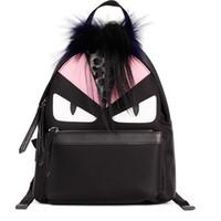 Wholesale New Arrival Peekaboo Monster Leopard grain fox fur Backpacks High Quality Custom Waterproof Nylon School bag