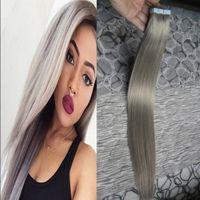 Wholesale Peruvian Tape In Human Hair Extensions Silver Hair Extensions g Tape Hair Remy Human Hair Brazilian Gray Hair Extensions Products