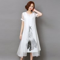 assemble lines - Summer dresses Women long style Vintage Real silk Short sleeve Assemble Linen blend Ink print False two piece dresses