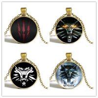 amulet sweater - the Witcher steampunk glass cabochon Necklace Pendant the wild hunt figure game wolf amulet Sweater Chain Gift